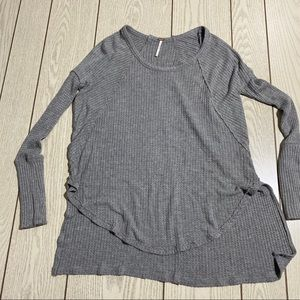 Free People Gray Waffle Knit Long Sleeve Thermal
